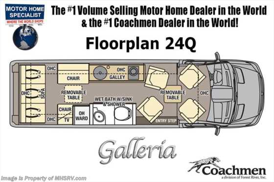 New 2019 Coachmen Galleria 24Q Sprinter Diesel RV W/Elctronics Pkg Floorplan