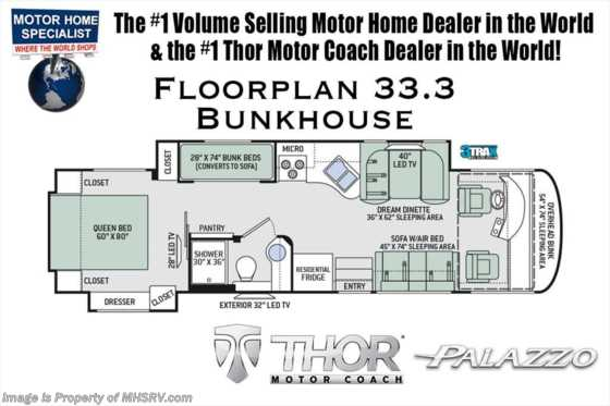 New 2019 Thor Motor Coach Palazzo 33.3 RV for Sale W/ Full Wall Slide, Bunk Beds Floorplan