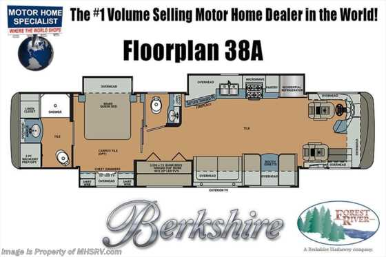 2019 Forest River Berkshire 38A Bath & 1/2 Bunk Model Diesel Pusher RV for Sale Floorplan