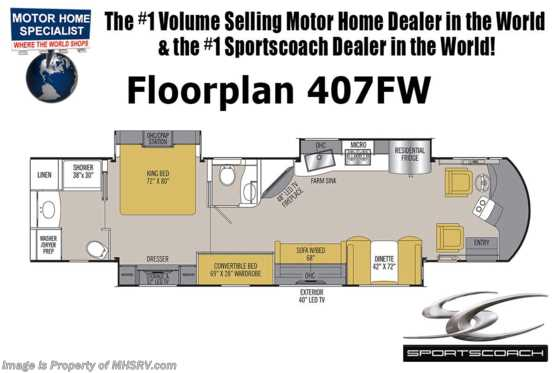 New 2019 Coachmen Sportscoach 407FW Luxury Bath & 1/2 Bunk Model RV for Sale Floorplan