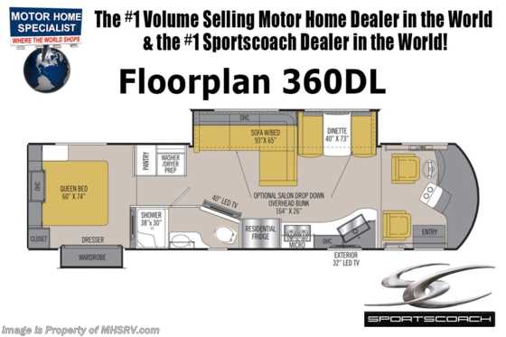 2019 Sportscoach Sportscoach SRS 360DL Bunk Model Diesel Pusher RV for Sale Floorplan
