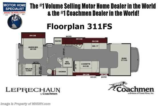 New 2019 Coachmen Leprechaun 311FS RV for Sale W/ Dual Recliners, Stabilizers Floorplan
