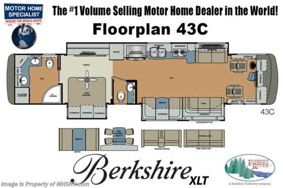 New 2019 Forest River Berkshire XLT 43C Bath & 1/2W/Pwr. Loft, Heated Floor, Aqua Hot Floorplan