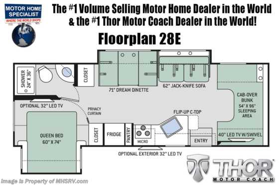 2019 Thor Motor Coach Chateau 28E RV for Sale W/ Stabilizers, Ext TV, 15K A/C Floorplan