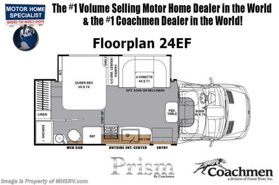 New 2019 Coachmen Prism Elite 24EF Sprinter Diesel RV W/ Dsl Gen, 15K A/C & Jack Floorplan