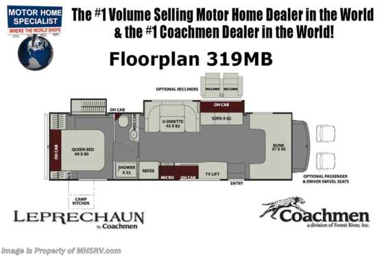 New 2019 Coachmen Leprechaun 319MB W/Ext Kitchen, Fireplace, 15K A/C, Sat Floorplan