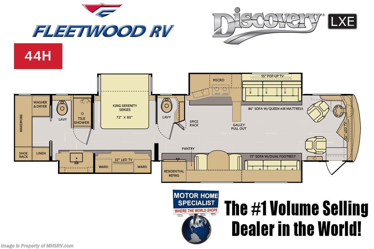 2019 Fleetwood Rv Discovery Lxe 44h Bath 1 2 W Tech Pkg 450hp Wiring Diagram For Slide Out Manufacturer Changes And Or Options May Alter Floor Plan Of Unit Sale