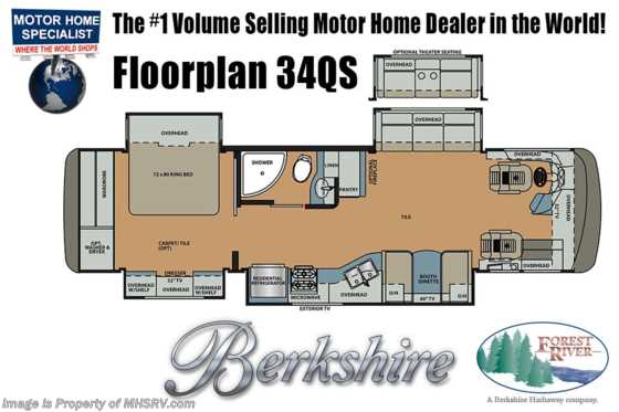 New 2019 Forest River Berkshire 34QS Compact Luxury Diesel W/Prw Loft, Stack W/D Floorplan