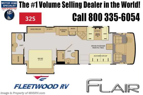 New 2019 Fleetwood Flair 32S 2 Full Bath Class A RV for Sale W/Theater Seat Floorplan