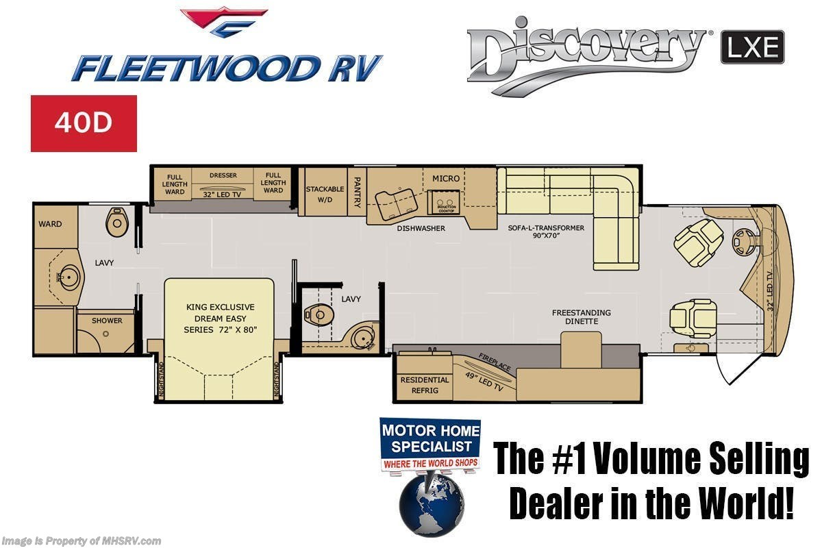 2019 Fleetwood Rv Discovery Lxe 40d Bath 1 2 Luxury Diesel W Wiring Diagram For Slide Out Manufacturer Changes And Or Options May Alter Floor Plan Of Unit Sale