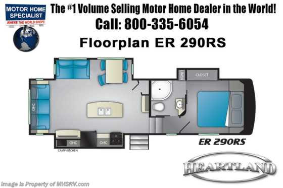New 2019 Heartland  ElkRidge Focus ER 290RS RV for Sale W/ 2 A/Cs, Stabilizers Floorplan
