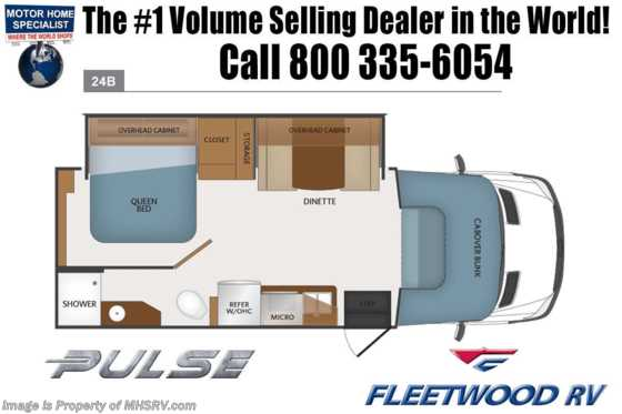New 2019 Fleetwood Pulse 24B Diesel Sprinter RV W/Dsl Gen, Tech Pkg Floorplan