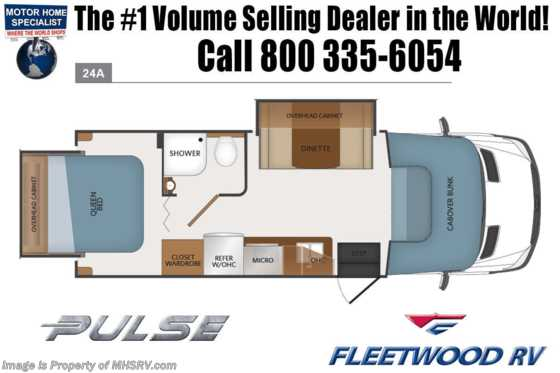 New 2019 Fleetwood Pulse 24A Diesel Sprinter RV W/Dsl Gen, Ext TV Floorplan