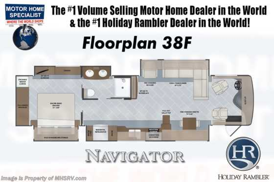 2019 Holiday Rambler Navigator 38F W/ OH Loft, 3 A/Cs, King Floorplan