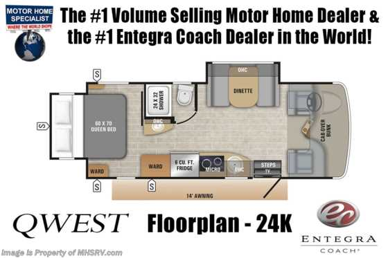 New 2019 Entegra Coach Qwest 24K W/2 Yr Warranty, Fiberglass Roof, Dsl Gen Floorplan