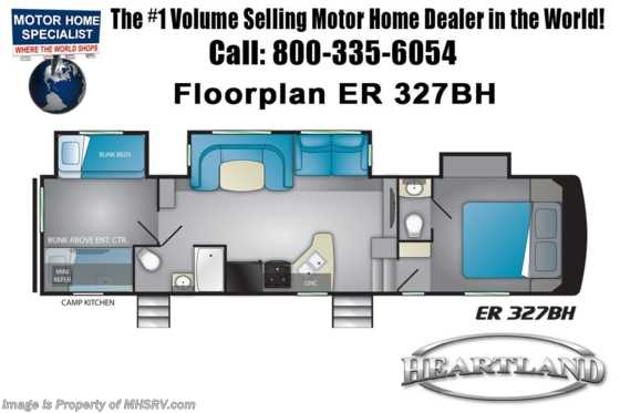 New 2019 Heartland  ElkRidge Focus ER 327BH Bath & 1/2 RV W/ Bunks & 2 A/Cs Floorplan