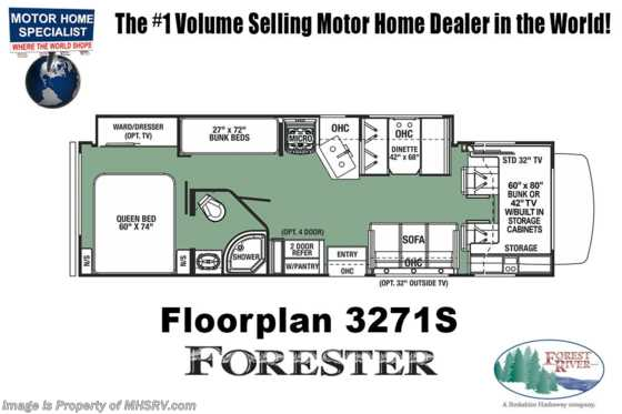 New 2019 Forest River Forester 3271S Bunk Model RV for Sale W/15K A/C & Jacks Floorplan
