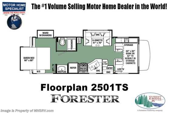 New 2019 Forest River Forester 2501TS W/FBP, Jacks, 15K A/C & Ext TV Floorplan