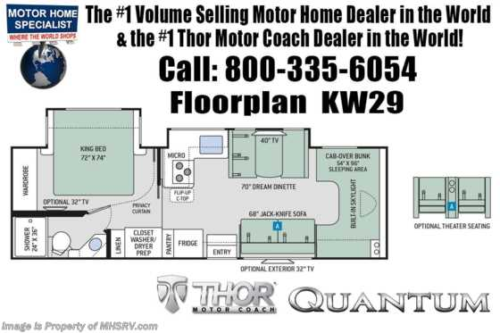 2020 Thor Motor Coach Quantum KW29 W/Stack W/D Prep, Theater Seats, 2 A/Cs, King Floorplan