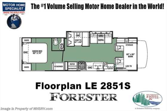 New 2019 Forest River Forester LE 2851S RV for Sale W/15K A/C & Auto Jacks Floorplan