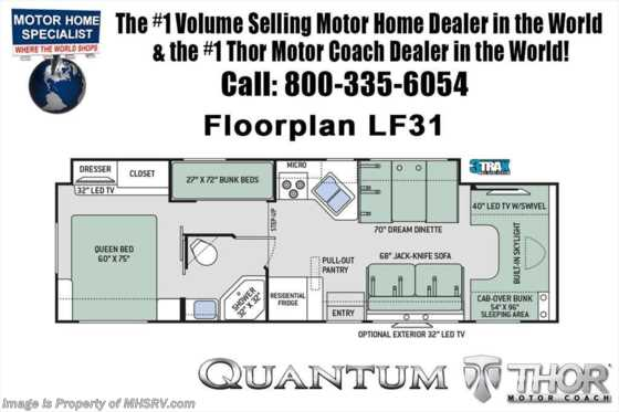 New 2020 Thor Motor Coach Quantum LF31 Bunk RV W/Platinum & Diamond Pkg, 2 A/C, FBP Floorplan