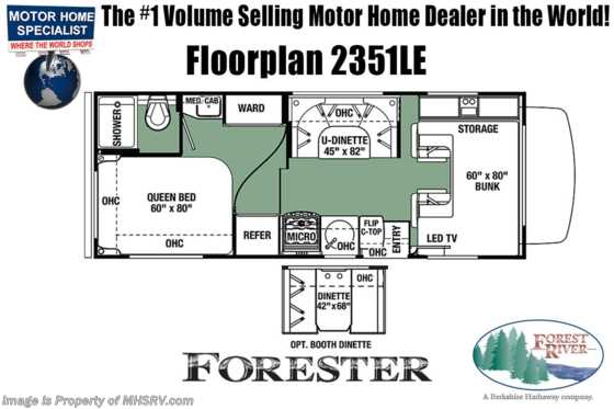 New 2019 Forest River Forester LE 2351LEF RV for Sale W/15K A/C, Auto Jacks Floorplan