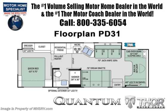 New 2020 Thor Motor Coach Quantum PD31 W/Diamond & Platinum Pkg & 2 A/Cs Floorplan