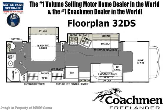 New 2019 Coachmen Freelander  32DS RV W/ Dual Recliners, Stabilizers & Car Play Floorplan