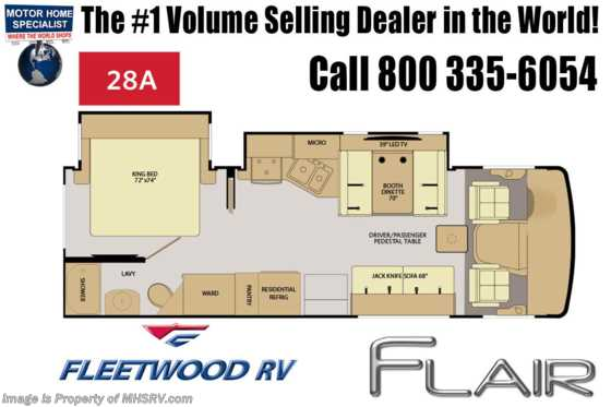 New 2019 Fleetwood Flair 28A RV for Sale W/Theater Seats, King Floorplan