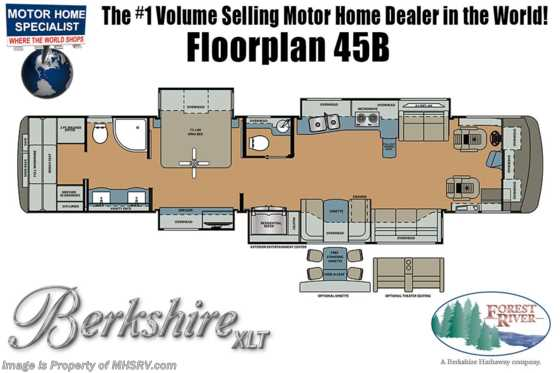 2019 Forest River Berkshire XLT 45B Bath & 1/2 W/Aqua Hot, Theater Seats, W/D Floorplan