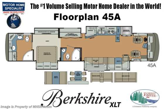 2019 Forest River Berkshire XLT 45A 2 Full Bath W/ Bunks, Theater Seats & W/D Floorplan