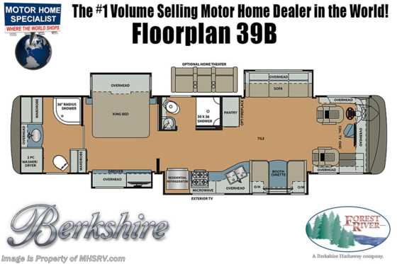 2019 Forest River Berkshire 39B 2 Full Bath W/ Theater Seats, OH Bed, Sat Floorplan