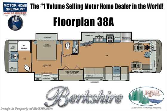 2019 Forest River Berkshire 38A Bath & 1/2 Bunk Model W/ Theater Seats Floorplan