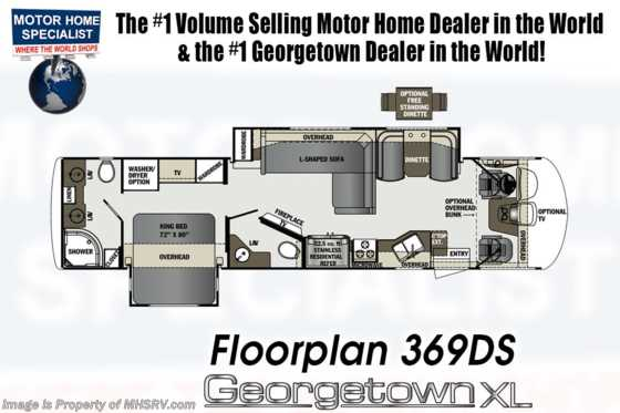 New 2019 Forest River Georgetown XL 369DS Bath & 1/2 RV for Sale W/ OH Loft, Ext. TV, Floorplan