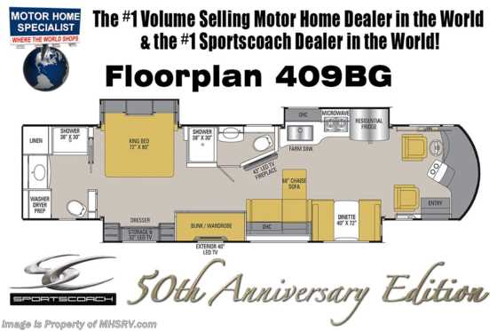 2019 Coachmen Sportscoach RD 409BG 50th Anniversary 2 Full Baths, Bunk Model Floorplan