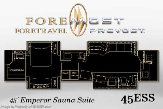 New 2020 Prevost H3-45™ Emperor Sauna Suite by Foretravel (45ESS) Floorplan