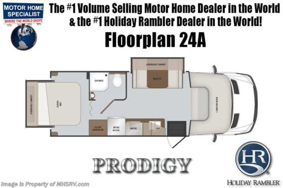 New 2019 Holiday Rambler Prodigy 24A Sprinter RV for Sale W/ Dsl Gen, Stabilizers Floorplan