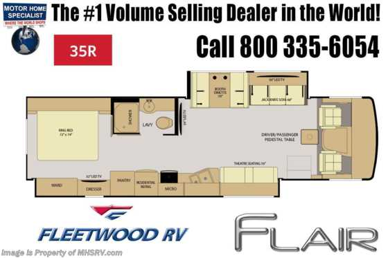 New 2019 Fleetwood Flair 35R Class A RV W/Theater Seats, W/D, Sat Floorplan
