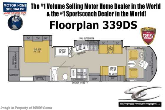 New 2019 Coachmen Sportscoach SRS 339DS RV W/Theater Seats, Stack W/D & 340HP Floorplan