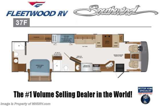 New 2019 Fleetwood Southwind 37F 2 Full Bath W/Bunks, Theater Seats, 7KW Gen Floorplan
