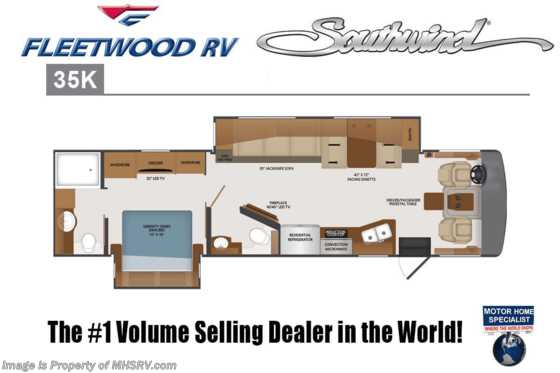 2019 Fleetwood Southwind 35K Bath & 1/2 RV W/Theater Seats, 7KW Gen, W/D Floorplan