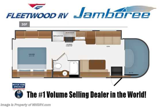 New 2019 Fleetwood Jamboree 30F Class C RV for Sale W/ King & Ext TV Floorplan