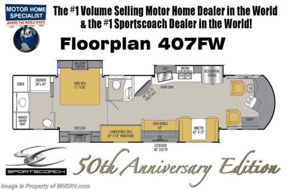 New 2019 Coachmen Sportscoach RD 407FW Bath & 1/2 Bunk Model 50th Anniversary RV Floorplan