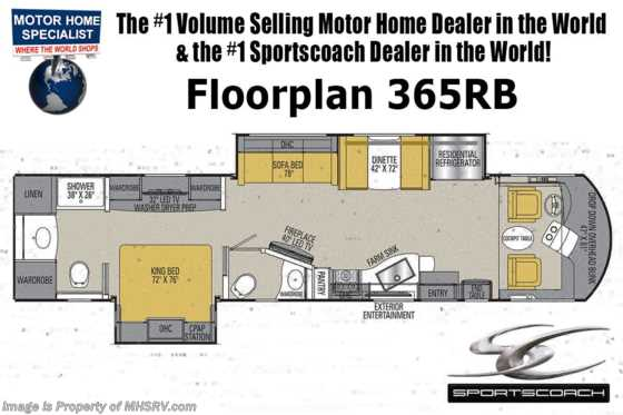 New 2019 Coachmen Sportscoach SRS 365RB Bath & 1/2 RV W/ King, W/D, 340HP Floorplan