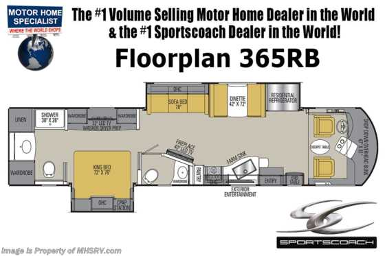 New 2019 Coachmen Sportscoach SRS 365RB Bath & 1/2 RV W/ King, 340HP & W/D Floorplan