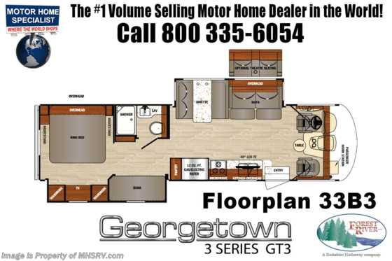 New 2019 Forest River Georgetown 3 Series GT3 33B3 Bunk Model RV for Sale W/ OH Loft, King Floorplan