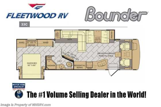 2019 Fleetwood Bounder 33C Class A RV W/ Hide-A-Loft, Res Fridge & King Floorplan