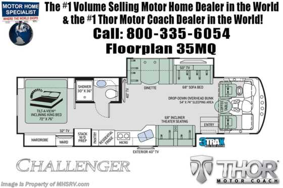2020 Thor Motor Coach Challenger 35MQ RV for Sale at MHSRV W/ OH Loft, Theater Seats, Res Fridge Floorplan