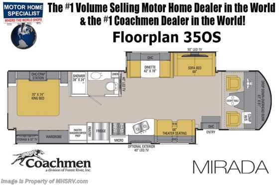 2020 Coachmen Mirada 35OS RV W/Theater Seats, 2 A/Cs, FBP, King, Ext TV Floorplan