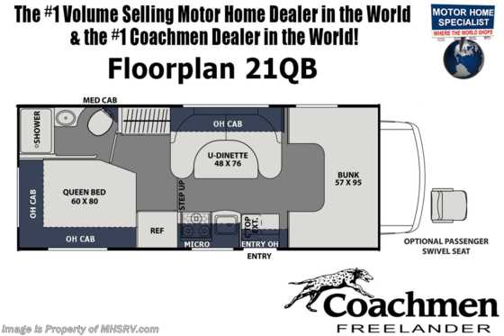 2020 Coachmen Freelander  21QBF RV for Sale W/ Ext TV, OH Loft, Coach TV Floorplan
